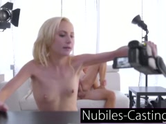 Cute newcomer gets her first taste of pussy and jizz