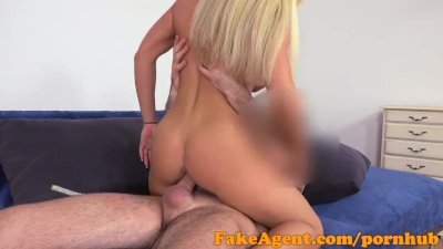 FakeAgent Big fake tits in casting facial