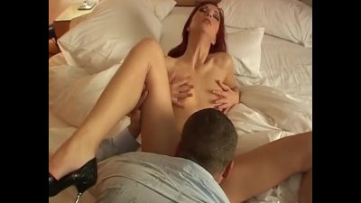 Sexy Redhead lays back to get fucked hard by mans thick dick