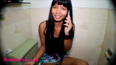 Heather Deep talks to boyfriend on phone while deepthroat Throatpie Creamt