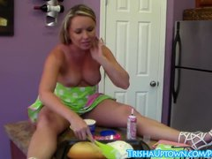 Blonde Trisha Uptown Celebrates Her BDay with Nude Cooking