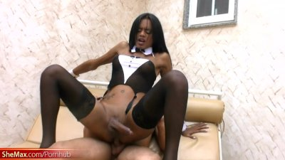 Ebony shemale rides cock with her ass and fucks lucky dude in anal