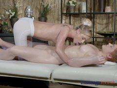 Massage Rooms Young teen virgin redhead has first lesbian encounter
