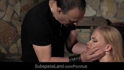 Blonde slave begging for cock in mouth must deserve it in bondage