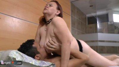 Old and fat bbw mature latina enjoying licking and sucking dick before hard