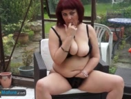 Mystery mature Christina masturbation