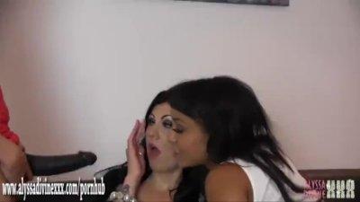 Horny licking lesbian ebony babe has tight pussy fucked by big strapon cock