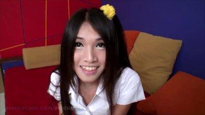 Asian schoolgirl with a big cock
