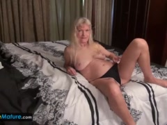 Mature granny blonde small tits showing nipples masturbating hairy pussy