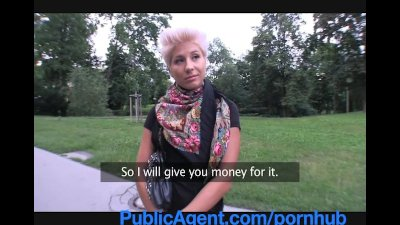 Pov Public Blowjob vid: PublicAgent Blonde lesbian takes cock for money
