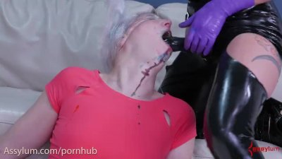 Blond face fucked with paint to make a slobber painting, then fucked in ass