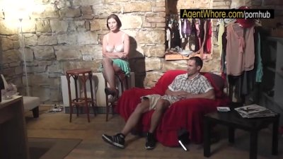 Two guys in the row for busty Agent Whore