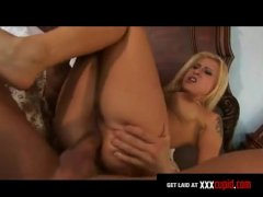 Hot blonde Rebecca Steel gets her ass beaten by Anthony Hardwood