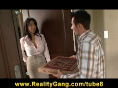 HOT brunette MILF Sienna West fucks her young pizza boy s cock