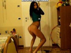 Topless girl shows ass pole dance