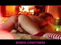 Stunning blonde teen Alaina fox strips  masturbates