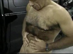 Silver haired Daddy strips and jerks