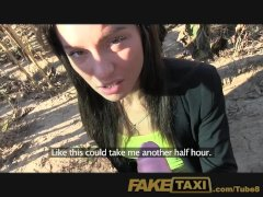 FakeTaxi Hot Budapest girl in taxi airport blowjob