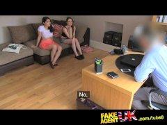 FakeAgentUK Italian and British threesome in fake casting