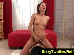Brunette small tits hairy box hoe rides sybian in hot solo in hd