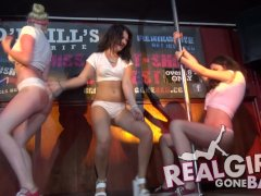 Sexy English girls strip naked on stage for a wet t shirt contest