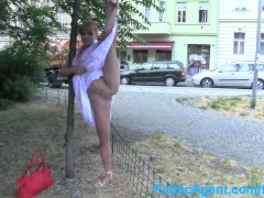 PublicAgent Albetzas tight shaven pussy gets fucked doing the splits