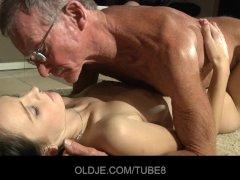 Horny girl sucking old dick