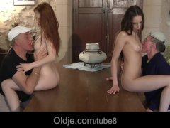 Two old men and 2 hot teens enjoy 4some in Mallorca