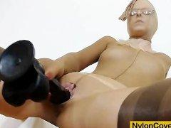 Slim blonde full in panty hose