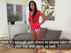 FakeAgent Hot tanned babe takes first time Creampie in interview