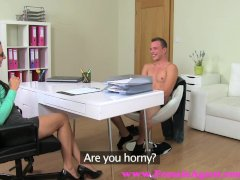 FemaleAgent  MILF agent wastes no time in seducing sexy stud on the couch