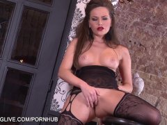 Amazing bodied Russian babe in classy bodystockings masturbating