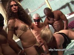 Amateur orgy with shemale female and men