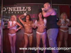 sexy girls strip naked on stage for a red hot wet t shirt contest