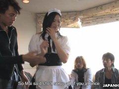 Maid Mai Mizusawa gets both fuck holes fucked