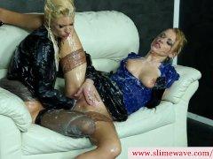 Uma and Anita Vixen at gloryhole getting slimed in hd