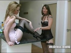 Sexy babes wearing nylon stockings lingerie and cock teaser high heel shoes