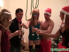 Euro teen fingered and fucked by sexysanta before sucking his candycane
