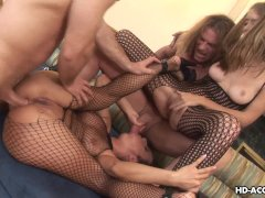 Hot and sexy bitches are fucked in a nasty foursome