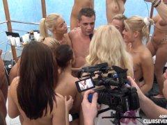 40 girls 1 guy reverse gangbang