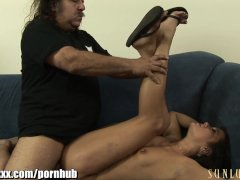 SunLustXXX Ron Jeremy checks under Cece Stone s skirt and NO PANTIES