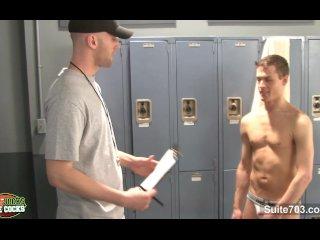 Naughty jocks fucking in locker room