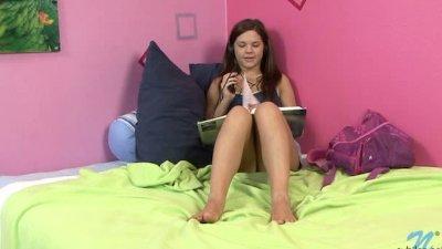 Youthful Brunette Teen Fingering Pussy