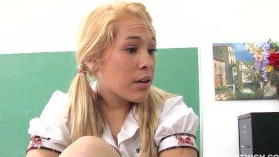 blonde teen Kinberly Kiss fucking her teacher