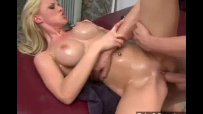 Oily big tits blonde gets destroyed