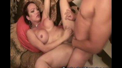 Slutty shemale bareback fucking with latino guy stiffy cock