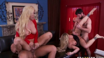 Big tit blonde MILFS swing each others husbands and have a fourso