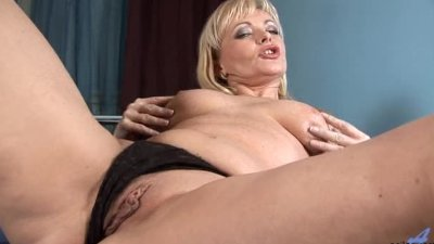 Mature older blonde anal bead
