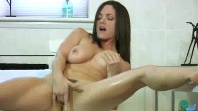 Busty milf bathroom fingering