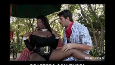 HUGE tit black MILF is fucked hard by gardener's bigdick outdoors